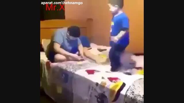 شوخی بد بد پسر با باباش!