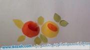 نقاشی گل رز روی پارچه