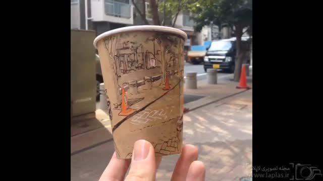 تصاویر جالبی از طرح های پانوراما روی لیوان یکبار مصرف