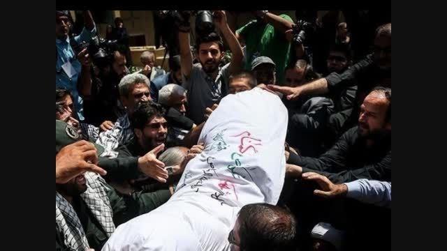 کلیپ تشییع پیکر مطهر شهدا در حوزه هنری