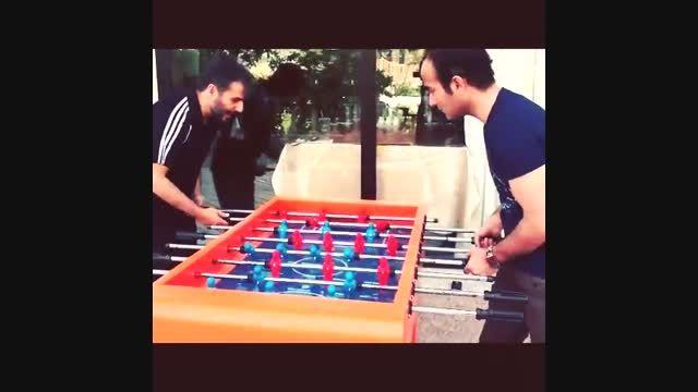 فوتبال دستی خنده دار و دیدنی ریوندی و هاشمی -اینستاگرام