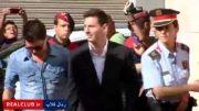 لئو مسی و پدرش در راه دادگاه برای محاکمه