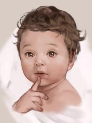 نقاشی زیبا از چهره کودکی تا پیری