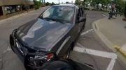 راننده بی حواس وانت و له کردن موتور!