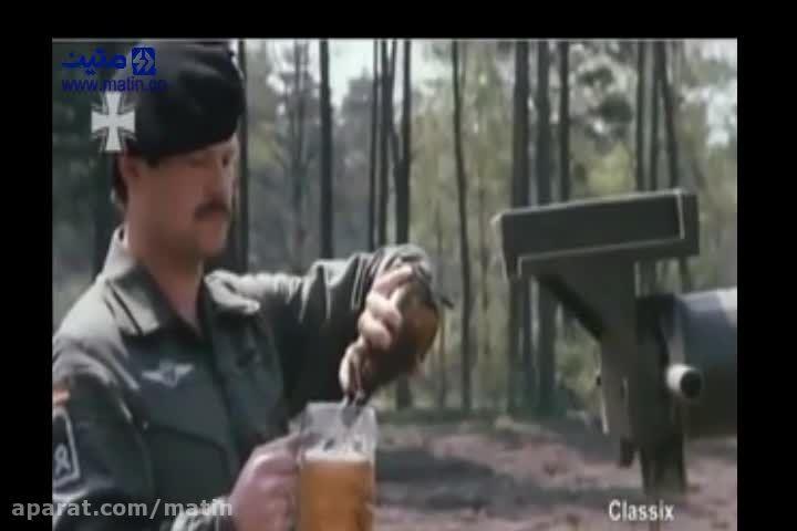 حمل یک لیوان نوشیدنی روی لوله تانک بدون ریختن یک قطره