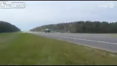 پرواز و فرود جنگنده های روسی روی جاده