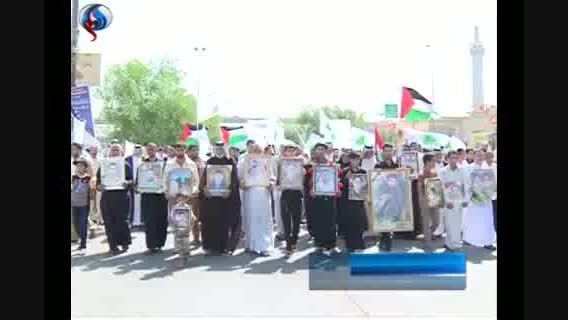 دلیل حضور مردم نجف با لباس نظامی در تظاهرات روز قدس