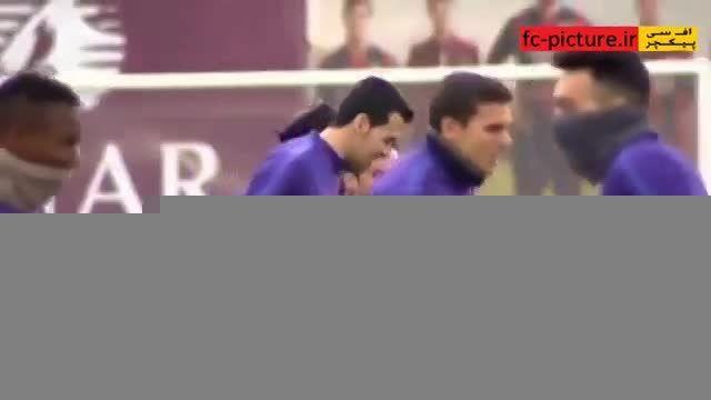 تمرین شاد تیم بارسلونا و مسی (امروز)