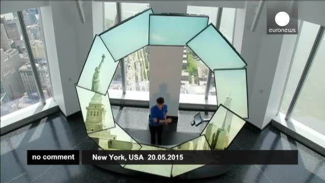 روی پشت بام مرکز جدید تجارت جهانی در نیویورک