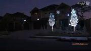 لامپ led روی پنجره های خانه.