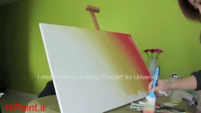 آموزش نقاشی رنگ روغن غروب خورشید