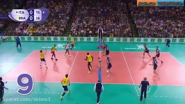 رالی زیبا در بازی والیبال ایتالیا-برزیل با 23 ضربه!