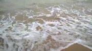 حرکت زیبای موج دریا در سواحل نیلگون خلیج فارس(بوشهر)
