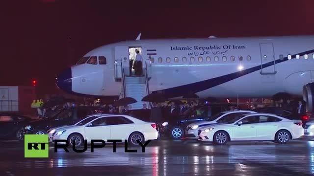 لحظه ورود دکتر حسن روحانی به روسیه