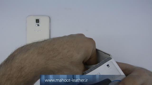 نصب برپوش بافت دار چوب گردو برای گوشی هوشمند sumsung S5