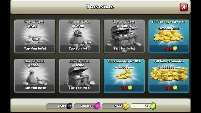 فعال کردن گزینه های خرید جم در بازیclash of clans