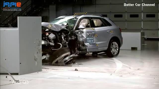 آزمایش تصادف خودرو آئودی Q3 و لکسوس RX