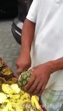 آموزش پوست کندن سریع آناناس (2)