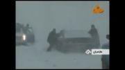 فیلم_ برف و کولاک شدید در محور هراز