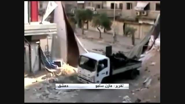 ادامه درگیری ها با داعش در یرموک سوریه + فیلم