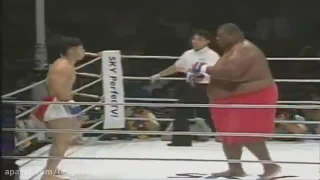 مبارزه سامو 350 کیلویی مقابل کاراته کار 90 کیلویی