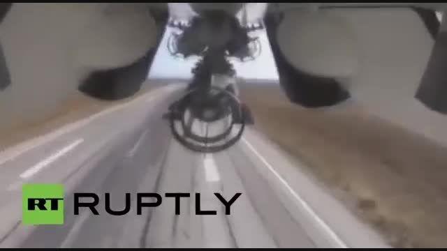 فیلم بمباران مواضع داعش توسط جنگنده های روسی