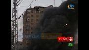 تخریب آنی و وحشتناک برج مسکونی ظافره در نوار غزه