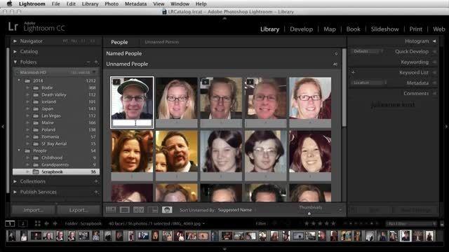 ویژگی شناسایی چهره در Adobe Lightroom CC 2015