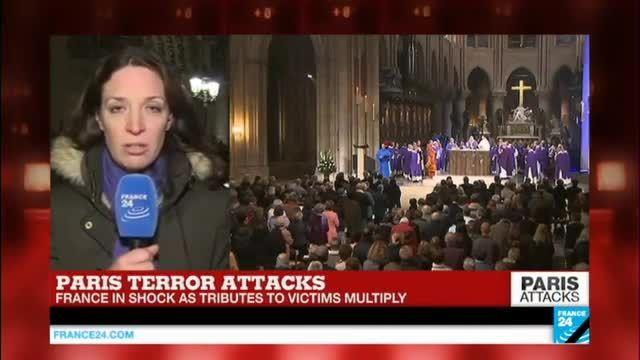 مراسم بزرگداشت جان باختگان حمله تروریسیتی به پاریس