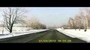 عاقبت رانندگی با سرعت 150 کیلومتر روی جاده یخی