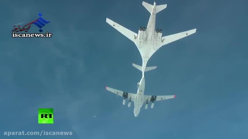 سوخت گیری بمب افکن روسیه در آسمان
