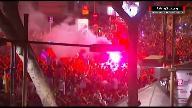 جشن و شادی هواداران بارسلونا در خیابان های شهر