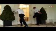 دویدن اوباما در کاخ سفید با اجبار همسرش