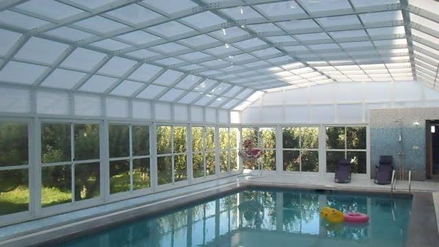 پوشش سقف استخر شناء خصوصی باغ آپارتمان - مشگین شهر