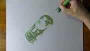 نقاشی سه بعدی از بطری