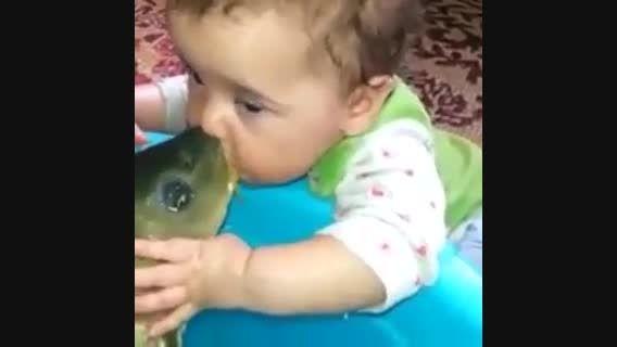بچه دهن ماهی رو با پستونک اشتباه گیر آورده