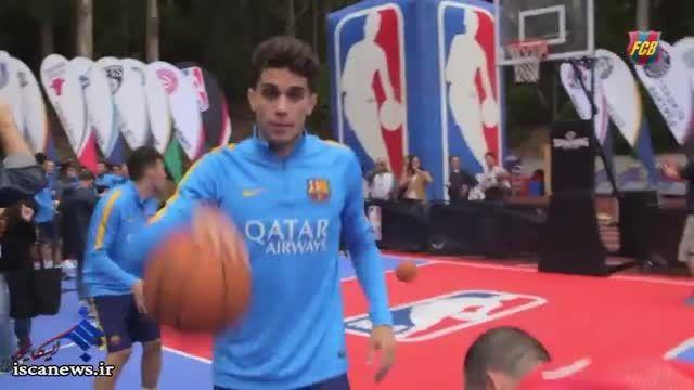 چالش بسکتبال بازیکنان بارسلونا