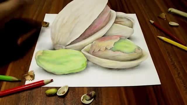 نقاشی سه بعدی جالب پسته روی کاغذ
