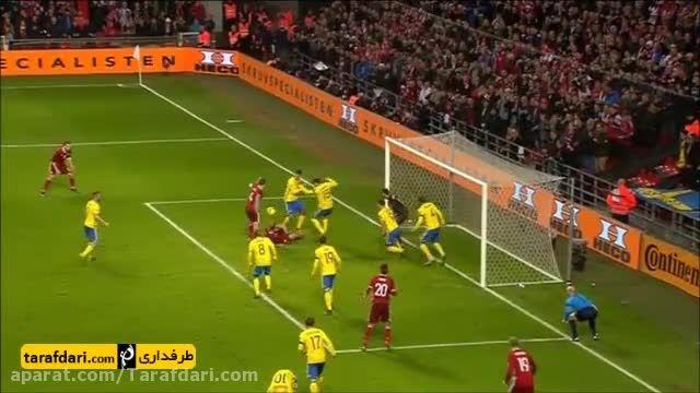 خلاصه بازی دانمارک 2-2 سوئد (گلزنی زلاتان)