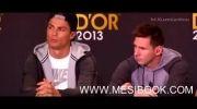 تعارف جالب مسی و رونالدو در نشست خبری قبل از مراسم توپ طلا