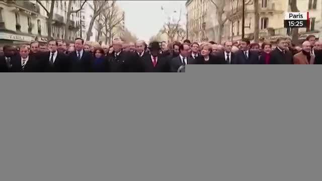 رهبران جهان در صف نخست تظاهرات اتحاد در پاریس