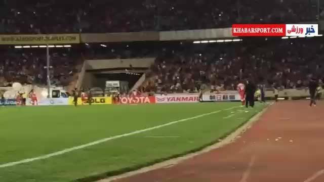 تشویق بی وقفه هواداران پرسپولیس مقابل النصر