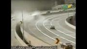 واژگونی و تصادف تریلی در اثر سرعت زیاد