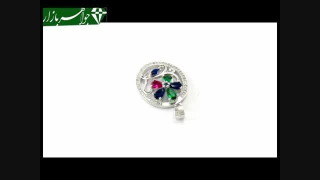 مدال نقره نگین رنگی زنانه - کد 6771