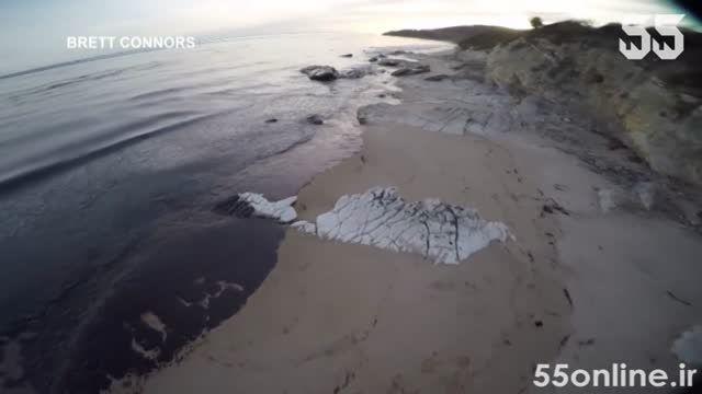 آلودگی نفتی در ساحل بندر سانتا بارابارا