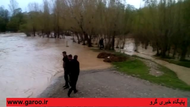 طغیان رودخانه گاماسیاب نهاوند در پی بارندگی های شدید