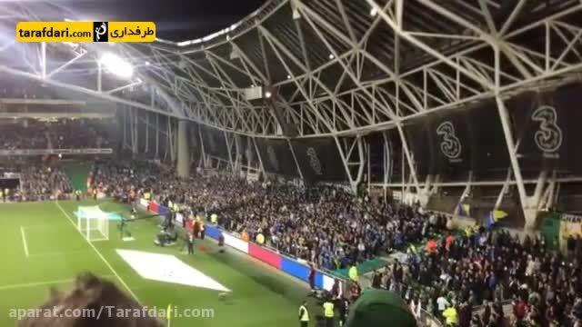بی احترامی برخی هواداران بوسنی هنگام سکوت برای پاریس