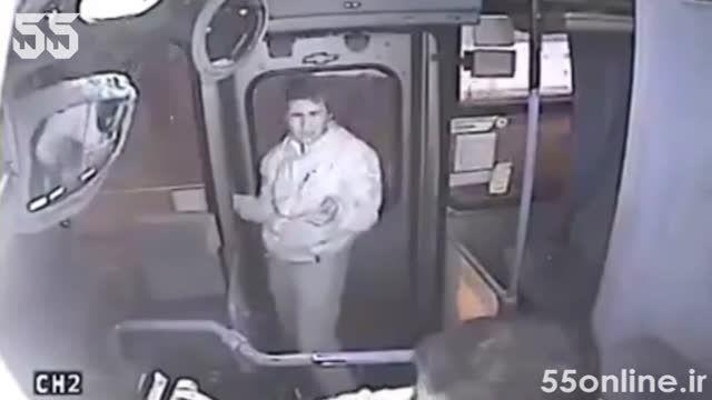 کتک خوردن کیف قاپ از راننده اتوبوس