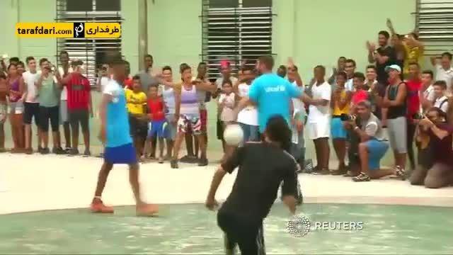 گلزنی راموس در بازی خیابانی و شادی به سبک رونالدو