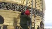بر افراشته شدن پرچم حضرت عباس بر فراز گنبد حضرت زینب س